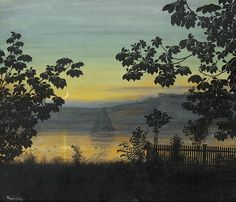 """""""Summer Night - Thorolf Holmboe, Norwegian 1866-1935 Pastel and watercolor on paper."""