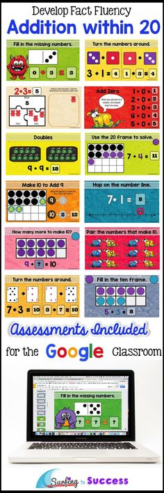 Are your students fluent in addition facts? Students will add within 5, add within 10, make ten, and add within 20 using several strategies in Google Slides. Animated directions allow students to work independently on Part Part Whole, Number Lines, Turn Around Facts, Ten Frames, Twenty Frames and more. This digital resource is paperless and requires no prep!