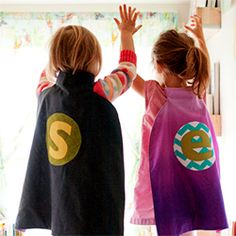 Free tutorial to sew a personalized cape for the little superheroes in your life - great gift idea for boys and girls!  Would need to have something things prepped and then let kids choose color of letters and circle they'd go on. Can use in conjunction with making masks.