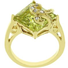 Peridot Gold Cocktail Ring Green Cubic Zirconia Filigree French Size 9 10 USA #Cocktail