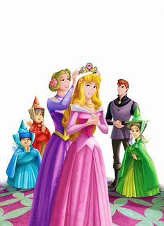 *LEFT-RIGHT: Merryweather, Flora, Prince Phillip, Flora, Queen Leah & Princess Aurors ~ Sleeping Beauty, 1959