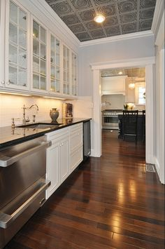 Butler S Pantry In A Rehabbed Victorian Home Faux Tin Ceiling Tiles Kitchen