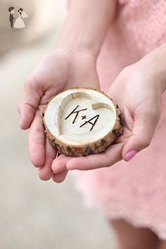 Personalized Rustic Wood Tree Stump Ring Holder - Venue and reception decor (*Amazon Partner-Link)