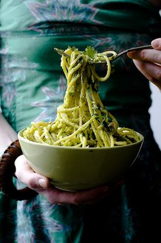 Spaghetti with Avocado cream and salted peanuts use oatley cream for a #vegan version