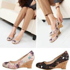 Womens Printing Wedges Shoes High Heels Shoes Korea Fashion Made in Korea # 33 #KFashionBeauty #PlatformsWedges