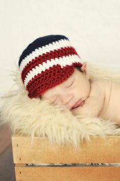 Patriotic Baby 4th of July crochet newsboy - Even the littlest tykes can get ready for the red, white and blue holiday.