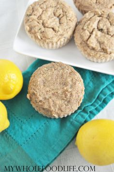 Lemon Zucchini Muffins. The perfect healthy breakfast recipe. Great for on the go. My kids eat these and they have no idea there are added veggies. Vegan and gluten free.