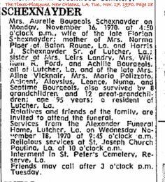 Schexnayder, Aureile Bourgeois Obituary