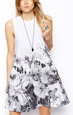 Ink Flowers Printing Sleeveless Dress
