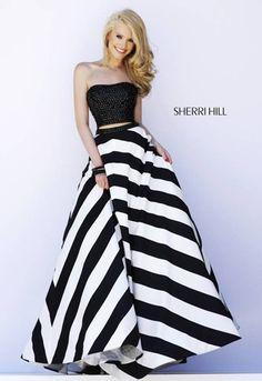 A fabulous black and white prom dress by Sherri Hill