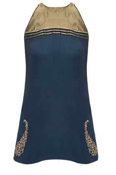 Navy and gold gold zardozi embroidered tunic available only at Pernia's Pop Up Shop. #perniaspopupshop #wedding #shopnow #JJVALAYA #newcollection #clothing #ethnic
