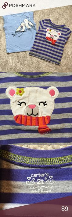 Carter's 2t long sleeve T-shirts 🐦bird & bear🐻 Cute toddler girl's tops, good condition  Slight, barely noticeable spot on the cuff of the bird shirt (see final photo)  All offers welcome! Carter's Shirts & Tops Tees - Long Sleeve