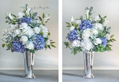 Ceremony Arrangements - Set of Two - Blue White Grey Silver Hydrangea Roses Calla Lilies