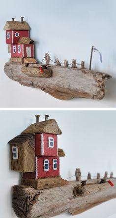 Christine Grandt - Treibholzkunst: maritime Geschenke, Design, Kunst, Art, Holz Skulptur Treibholz Haus Miniaturen Schweden