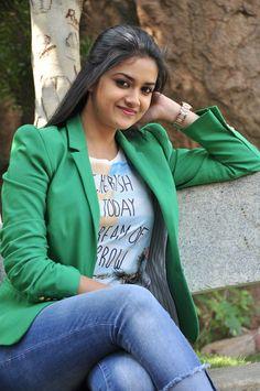 100 + Keerthy Suresh Blue Jeans and Green Coat Photos Patiala Salwar Suits, Cotton Salwar Kameez, Indian Bridal Sarees, Green Coat, Saree Styles, Beautiful Indian Actress, Work Casual, Indian Wear, Fashion Pants
