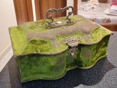 Jewelery Box - Brass Decor green velvet & mirror   eBay