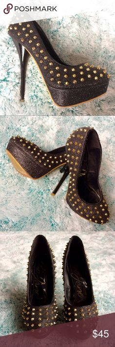 """⚡️SALE⚡️Spikes studs stiletto 5"""" Black glitter Golden Spikes studded stiletto heel 5 inch Black glitter. In good used condition, minimal wear. 🌸 Feel free to ask me any questions and if you like this item, just make me an offer I can't refuse 🌸Bundle for more discount!!! 🌸 😊Thanks for visiting, hope to see you again, Posting more Daily!🌸💕 gojane Shoes Heels"""