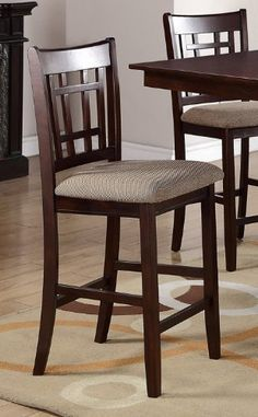 High Chair w/ Upholstered Seat in Beige and Solid Wood by Poundex (Set of 2) by Poundex