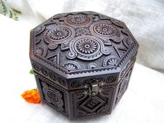 Jewelry box Wooden box Carved wood box Ring box by HappyFlying