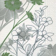 3263 Servilleta decorada flores