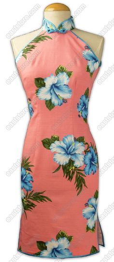 So pretty...a pink hibiscus #Qipao that #vintage #pin-up girls would love! (Chinese Hibiscus Mid-Length Cheongsam)