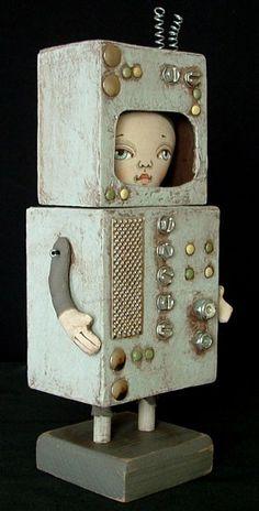 ROBOT GIRL Doll Primitive Folk Art