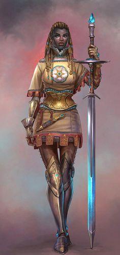 Female Human Paladin or Warpriest - Pathfinder PFRPG DND D&D d20 fantasy