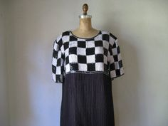 vintage 1980s dress / black white sequins beads by SHESABETTIE, $168.00