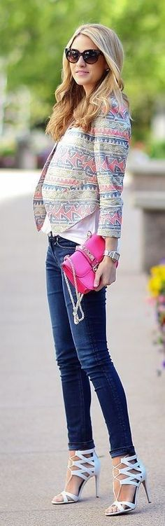 Multicolored Pattern Crop Back Jacket + Basics