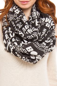 Steve Madden Fly n' Fresh Infinity Scarf in Black and White