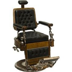Vintage Koken Oak & Black Leather Barber Chair