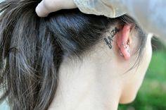 #tattoo #faith behind the ear tattoo ink. Cancer ribbon tattoo behind ear