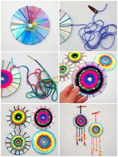 original DIY tutorial with old cd, weaving on recycled cds for re . Yarn Crafts, Diy And Crafts, Arts And Crafts, Weaving Projects, Craft Projects, Art Cd, Diy For Kids, Crafts For Kids, Weaving For Kids