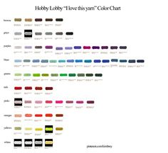 Hobby Lobby I love this yarn color chart