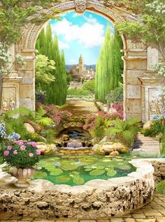 Order Lilly Pond Mural to create fantastic wall decor in your living space or browse thousands of other murals at Print A Wallpaper. Fantasy Art Landscapes, Fantasy Landscape, Landscape Art, Beautiful Landscapes, Beautiful Gardens, Fantasy Artwork, Beautiful Paintings, Landscape Paintings, Foto Poster