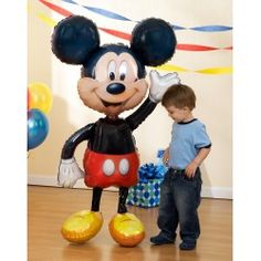 "CUTE! $17.99 Mickey 52"" Airwalker Jumbo Balloon""    Mickey Mouse Birthday Party Ideas Featuring America's Favorite Mouse!  Fun And Fabulous Mickey Mouse Birthday Party  The Perfect Choice For A Toddler Birthday Party!  M-I-C-K-E-Y...M-O-U-S-E...The thought of a Mickey Mouse party still brings squeals of delight from little ones."