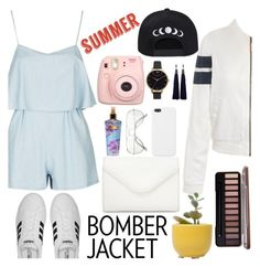 """""""Summer: bomber jacket"""" by arwitaa ❤ liked on Polyvore featuring Fujifilm, Tommy Hilfiger, Neiman Marcus, adidas, Dot & Bo, Victoria's Secret, Olivia Burton, Lanvin and bomberjackets"""