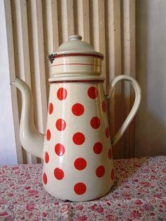 Very pretty European enameled coffee pot with filter from early 1930s, light beige with red polka dots, this coffee pot has been produced for