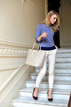Tailored sweatshirt, cig khakis | Make Life Easier