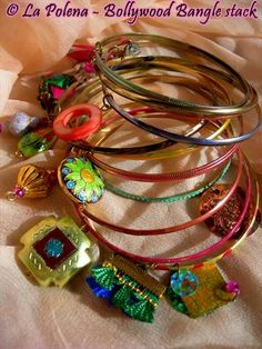 RESERVED Bollywood Bangle stack Lot of 11 bangles di LaPolena