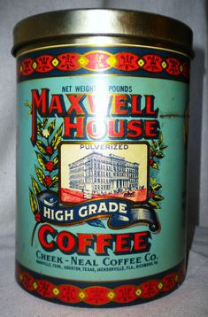 Vintage J. Chein and Co. 1970s 70s Maxwell House Coffee Advertising Metal Tin Retro Antique Primitive Country Kitchen Decor via Etsy