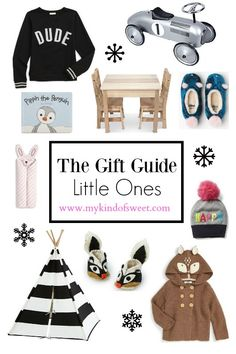 """It's time for another holiday gift guide! Thisguide is for the little ones in your life. Because, let's be honest, they're really the most fun to shower with gifts. My girl is starting to realize more and more about Christmas and Santa and presents and I'm loving it. She """"helps"""" me wrap presents (seriously, 1 present takes about 45 minutes. at this rate we'll be ..."""