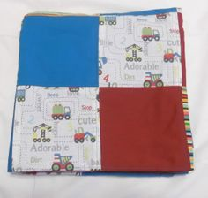 Construction Baby Quilt Blanket  Red Blue by TakeTwoBabyQuilts, $65.00