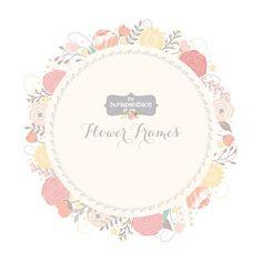 Wedding Floral Wreath Clip Art, Hand Illustrated Digital Flowers , Flower frames wedding invitation, shower invitation frame
