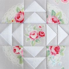 FWQAL 42 quilt block - Gray White 2 Flower Sugar Lecien | by Pretty by Hand