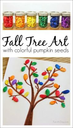 Fall tree art for kids using colorful pumpkin seeds Use dyed pumpkin seeds to create pumpkin seed art with preschoolers. A fun process for children, and a great way to talk about colors, shapes, and seasons. Fall Crafts For Kids, Thanksgiving Crafts, Toddler Crafts, Holiday Crafts, Fall Art For Toddlers, Seed Art For Kids, Art For Children, Fall Arts And Crafts, Kids Diy