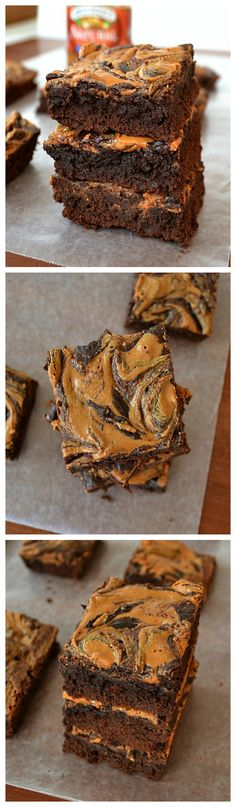 You'll find it extremely difficult to only have one of these super-moist and fudgy brownies. Their fudge-like texture and gorgeous peanut-butter swirl make them positively irresistible! Brownie Recipes, Cookie Recipes, Dessert Recipes, Chocolate Recipes, Just Desserts, Delicious Desserts, Yummy Food, Healthy Desserts, Tasty