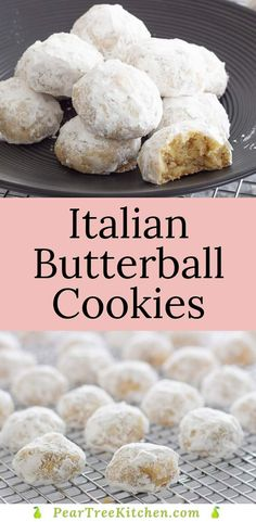 Italian Wedding Cookies are delicious little, powdered sugar coated, butterball cookies studded with almonds. Italian Christmas Cookie Recipes, Italian Cookie Recipes, Easy Cookie Recipes, Sweets Recipes, Candy Recipes, Wedding Cookie Recipes, Christmas Recipes, Italian Almond Cookies, Italian Wedding Cookies
