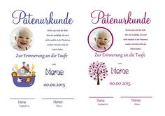 Patenurkunde passend zu den Patenbriefen von Aus Liebe wird Papier auf DaWanda.com