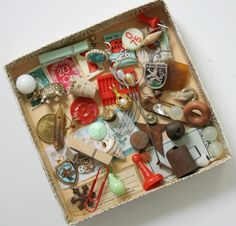 Tiny Trinket Inspiration Kit. Teal & Red by magpiemary on Etsy